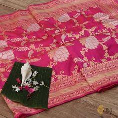 Orange-Gulabi Pink Pure Katan Silk Banarasi Handloom Saree