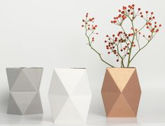 'Cardboard Snug Vases by snug.studio' These are gorgeous, the colors will go with any interior and I like the geometric shapes
