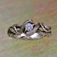 Silver OPEN TWIST with White Sapphire, Leaves with Spiraling Vine and Branch, Twisted Twigs. Leaf and Vine Band, Leaves Engagement Ring Ear Jewelry, Unique Jewelry, Jewlery, Vine And Branches, Leaf Engagement Ring, Celtic Wedding Rings, Matching Wedding Bands, Twist Ring, White Sapphire