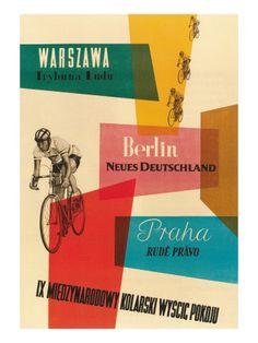 Carrera de bicicletas, Varsovia, Berlín, Praga Láminas en AllPosters.es