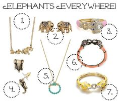 Elephants Everywhere! A round up of affordable elephant themed jewelry and accessories.