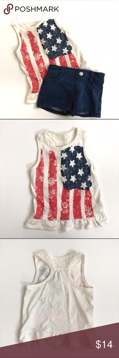 """Patriotic Outfit American Flag Tank top, with lace detail on racerback and ruffled bottom edge is Genuine by OshKosh in 18 month and denim Jean shorts are a """"short short"""" style from Children's Place with elastic waist in 18-24 month (more true to 18 month sizing) Both in EUC, only worn once. Shirts & Tops Tank Tops"""