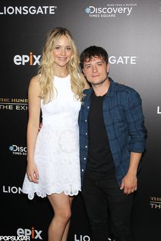 The Hunger Games costars Jennifer Lawrence and Josh Hutcherson reunited for a night out in NYC! #jennifer #lawrence #jlaw #funny #actrice #hungergames #dior #fun