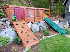 Hillside playground built for my kids to maximize space in our small backyard.