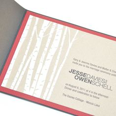 silkscreened birch tree wedding invitation, pocketfold - from shecreates