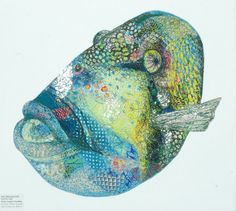 Trigger Fish Two | Sophie Standing Art | Textile embroidery art from Africa