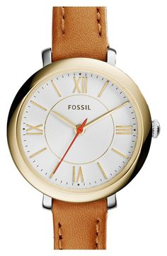 Fossil+'Jacqueline'+Leather+Strap+Watch,+26mm+available+at+#Nordstrom
