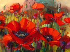 Poppy painting by Jennifer Bowman (available at Art Gallery West in Bellingham, where I first saw her work) Acrylic Painting Trees, Acrylic Flowers, Acrylic Art, Art Floral, Watercolor Poppies, Watercolor Paintings, Art Paintings, Poppies Painting, Beautiful Paintings