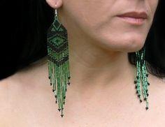 Black and Green Earrings Native American Beaded by Burvesrotas, $41.00
