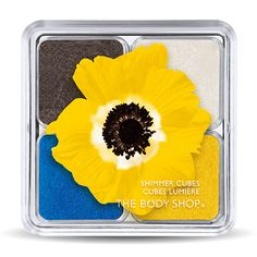 I would probably only wear the gray in this palette, however, the eye candy is fabulous.  Yellow Poppy Shimmer Cubes @ the body shop.