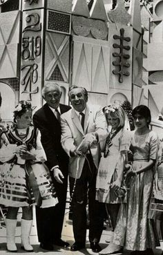 •Walt and the opening ceremony of Small World, 1966.