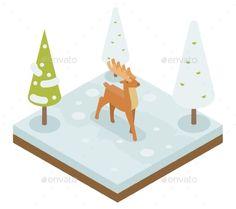 Deer Walking Along Winter Wood Forest Isometric 3d