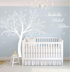 Children's Tree Decal - Vinyl Wall Decals - nursery decals with Butterflies,TREE & name monogram