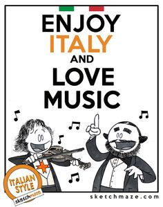 """ENJOY ITALY and LOVE MUSIC""  #sketchmaze #enjoy #enjoyitaly #italy #italia #italianstyle #italian #madeinitaly #fun #funny #viral #meme #memes #marketing #follow #followme #love #art #travelgram #vacation #tourism #book #books #comics #sketch #sketches #fabioleonardi #maxvellucci #music #lovemusic"
