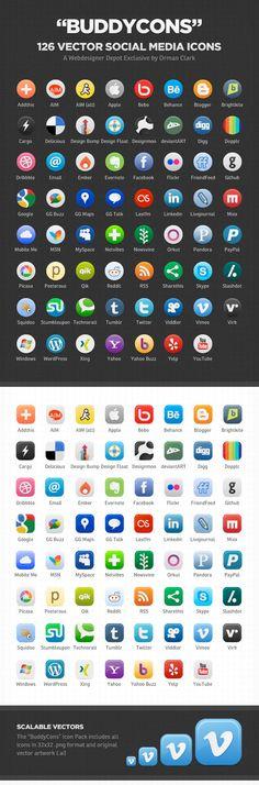 Buddycons: 126 Free Vector-Based Social Media Icons