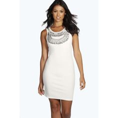 Boohoo Night Erika Embellished Bodycon Mini Dress ($16) ❤ liked on Polyvore featuring dresses, white, white mini dress, white cocktail dresses, white slip dress, sequin party dresses and sequin cocktail dresses