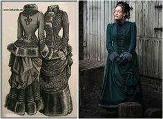 Victorian winter gown, left the original drawing , right the reproduction, made by Angela Mombers