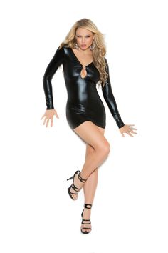 """""""Wet Look"""" Long sleeve mini dress with rhinestone accents and ruched back. New for 2015. #lingerie #dress"""