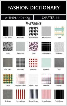 types of patterns - fashion dictionary Types Of Patterns, Fabric Patterns, Clothing Patterns, Sewing Patterns, Fashion Terminology, Fashion Terms, Fashion 101, Diy Kleidung, Fashion Dictionary