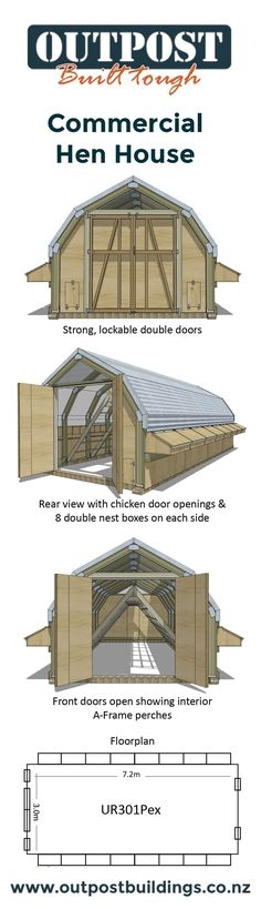 Building a Chicken Coop Large Chicken Coop suitable for up to 180 free ranging hens! Building a chicken coop does not have to be tricky nor does it have to set you back a ton of scratch. Chicken Coop Large, Chicken Coop Plans, Building A Chicken Coop, Diy Chicken Coop, Chicken Ideas, Chicken Tractors, Patio, Raising Chickens, Urban Farming