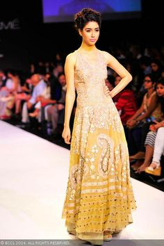 Yellow anarkali by Jade.