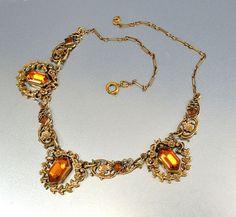 Gold Filigree Amber Glass Art Deco Necklace Vintage 1920s Art Deco Jewelry Edwardian Antique Jewelry