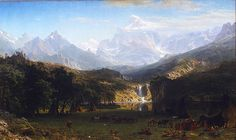 Browse through images in Bridgeman Images' Albert Bierstadt collection. A selection of wonderful landscape painting by Albert Bierstadt a German-American painter best known for his large landscapes of the American West. Rocky Mountains, Nevada Mountains, Main Image, Hudson River School, Mountain Paintings, Sierra Nevada, Romanticism, Metropolitan Museum, School