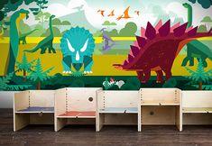 Papel pintado para la decoración de paredes de dormitorios de niños con dinosaurios, tema Mundo Jurásico