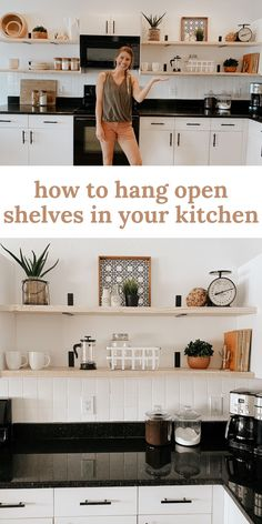 DIY Open shelving kitchen renovation // how to hang open shelves in your kitchen! Home Interior, Kitchen Interior, New Kitchen, Kitchen Small, Diy Kitchen Shelves, Kitchens With Open Shelving, Open Shelf Kitchen, Kitchen Shelf Design, Kitchen Cabinets