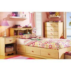 South Shore Lily Rose Bed with Optional Pieces, Pine