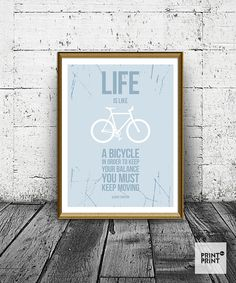 Modern Bicycle Art, Bicycle Typography, Bicycle Print, Typography Print, Bicycle Home Decor, Bicycle Picture