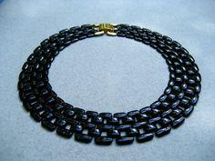 Vintage Napier Black Enamel Chain Link Necklace @Etsy!