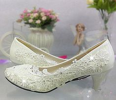 Lace white ivory crystal Wedding shoes Bridal flats low high heel pump size 5/11