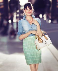 Mint Tweed / Pastel Boucle Skirt, denim shirt, white purse