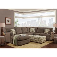 Welcome to the Boston! Rich pewter grey color and dramatic modern design showcase the Boston sectional with ottoman. This microfiber sectional set with ottoman includes details such as deeply padded b