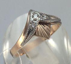 Vintage Original Diamond Rose Gold Ring 585 Gold, Natural Diamond Ring Vintage Diamond Rose Gold and White Gold Ring 585 Gold Ring Photo, Gold Girl, Amber Ring, Diamond Sizes, Rose Gold Earrings, Vintage Diamond, Antique Rings, White Gold Rings, Gold Pendant