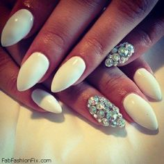 White nails with rhinestones inspiration