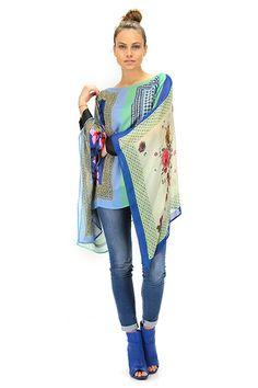 TWIN-SET SIMONA BARBIERI - Camicie - Abbigliamento - Caftano in viscosa con stampa a fantasia, maniche con polsini.La nostra modella indossa la taglia /EU S. - BLUE - € 159.84