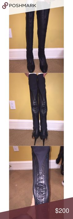 Casadei over the knee black leather boots Over the Knee black boots with a bit of a stretch. Very comfortable and sexy. Casadei Shoes Over the Knee Boots
