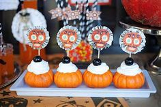 Pumpkin appetizers at a vintage halloween party via Kara's Party Ideas #halloweenparty #appetizers