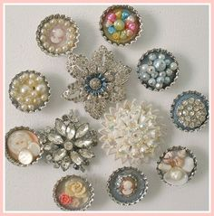 Bottlecap Magnets With Vintage Jewelry Pieces