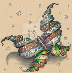 Butterfly on tan paper by LilysTangles.deviantart.com