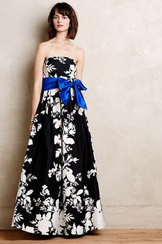 black floral dress with ribbon