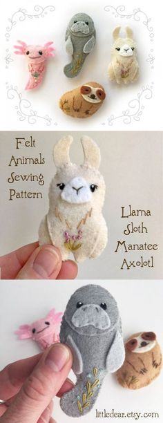 Stitch up these adorable mini felt plushies with this easy sewing pattern from little dear! Sweet Llama, Sloth, Manatee and Axolotl are the best of friends. sew einfach clothes crafts for beginners ideas projects room Animal Sewing Patterns, Easy Sewing Patterns, Stuffed Animal Patterns, Embroidery Patterns, Pdf Patterns, Embroidery Stitches, Felt Crafts Patterns, Etsy Embroidery, Felt Embroidery