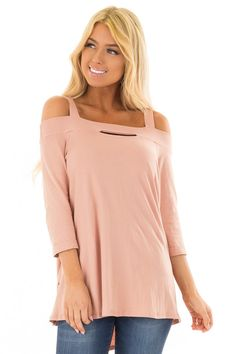 058495831aa5 Lime Lush Boutique - Dusty Rose Cold Shoulder Top with 3/4 Sleeves, $36.99