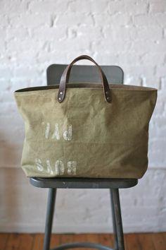 3c0e4d11d8e9 1950s era Canvas Tote Bag Canvas Leather