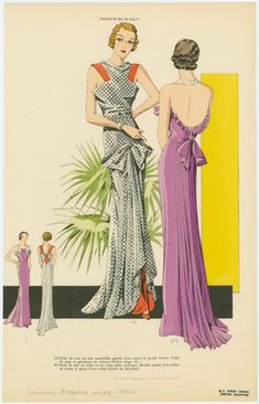 [Two women wearing evening gowns, front and back views.] (193-)