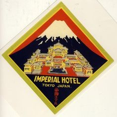 Frank Lloyd Wright design of the second Imperial Hotel (shown above) of Tokyo, Japan. (He also insisted on being in charge of designing the luggage labels too.)
