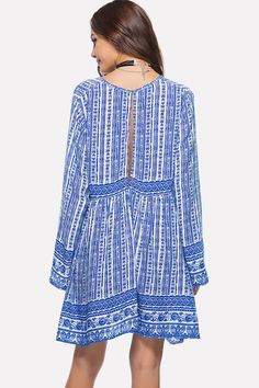 Women Plunging Tribal Print Long Sleeve Blue Cutout Back Casual Dress - XXL Good And Cheap, Tribal Prints, Polyester Spandex, Sleeve Styles, Dresses Online, Going Out, Summer Dresses, Boho, Long Sleeve