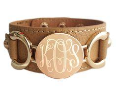 Monogrammed Camel Leather Cuff Bracelet